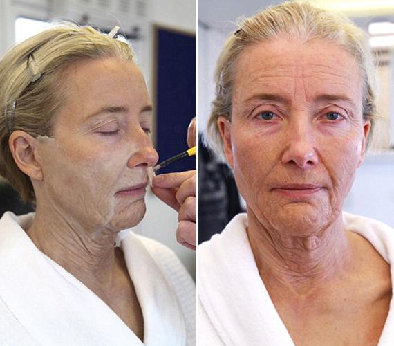 A színésznő maszkját Mark Coulier sminkmester készíti, aki BAFTA-díjat kapott, amiért a Vaslady című filmben Margaret Thatchert varázsolt Meryl Streepből. Esténként 45 perc, amíg megszabadítja Emma Thompsont a ráncoktól.