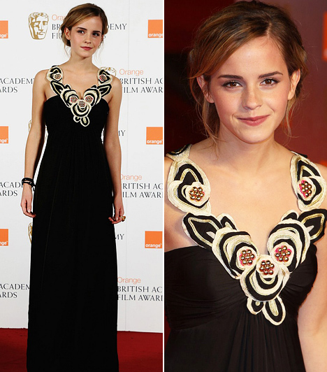 Már kész nő                         2009 februárjára Emma Watson már leforgatott hét Harry Potter-filmet és megszámlálhatatlan alkalommal lépett a vörös szőnyegre. Az Orange British Academy Film Awards-on dívásra vette a figurát: gyönyörűen díszített felsőrészű fekete Temperley London estélyijében maga volt a tökély.
