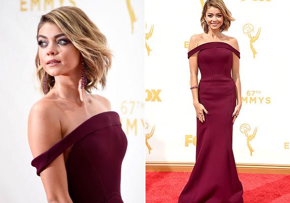 A Modern család másik sztárja, Sarah Hyland burgundivörös ruhát húzott a díjátadóra. 24 éves kora ellenére a színésznő már most igazi stílusikonnak számít.