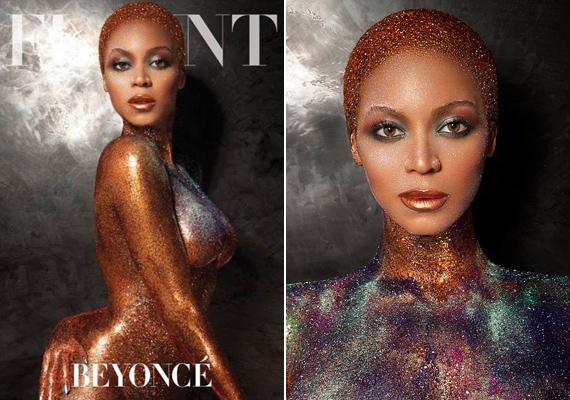 Beyoncé 2013-ban állt modellt meztelenül a Flaunt magazinnak, csupán arany csillámok takarták a testét a címlapon.