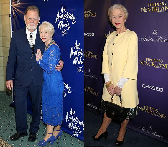 A 69 éves Helen Mirren jól tudja, mi áll jól neki, és a ruhatárán végigtekintve egyértelmű, hogy imádja a csipkeruhákat. A gyönyörű kék szettben vasárnap fotózták le férje társaságában egy Broadway-darab, az Egy amerikai Párizsban New York-i bemutatóján. A halványsárga kabátot pedig csütörtökön viselte, szintén egy darab premierjén.