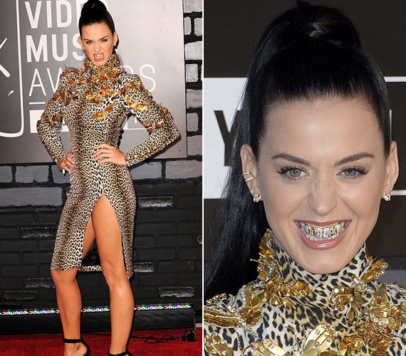 Katy Perry a bugyiig felvágott ruhájú sztárok csapatát erősítette. Úgy tűnik, elirigyelte Madonna bomlasztó mosolyát, ezért ő is arany fogakkal jelent meg.