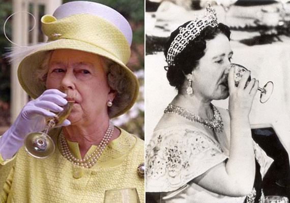 Erzsébet királynő édesanyjától, Bowes-Lyon Erzsébet brit királynétól - jobb oldali fotó - egy nagyon fontos dolgot örökölt: a gin-tonik iránti szenvedélyét. Az édesanyja receptje alapján készített italból minden délelőtt pontban 11-kor hajt fel egy pohárkával.