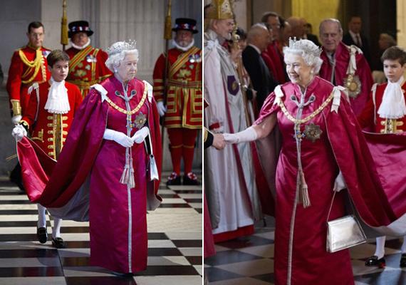 A Szent Péter-székesegyházba, a Brit Birodalom Rendje tiszti fokozatának díjátadó ünnepségére is magával vitte kedvenc ezüstszínű szütyőjét 2012-ben.