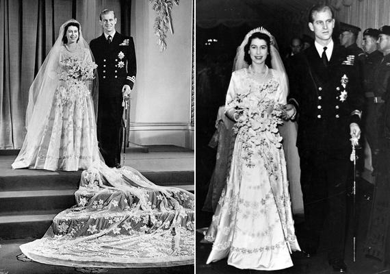 Erzsébet és Fülöp herceg 1947. november 20-án házasodott össze a londoni Westminster-apátságban. Kevesen tudják, de az esküvő napján Erzsébet tiarája eltört, ám szerencsére a királyi ékszerész időben meg tudta javítani a gyönyörű fejdíszt. Érdekesség még, hogy Erzsébet Katalinhoz hasonlóan maga csinálta meg a saját esküvői sminkjét.