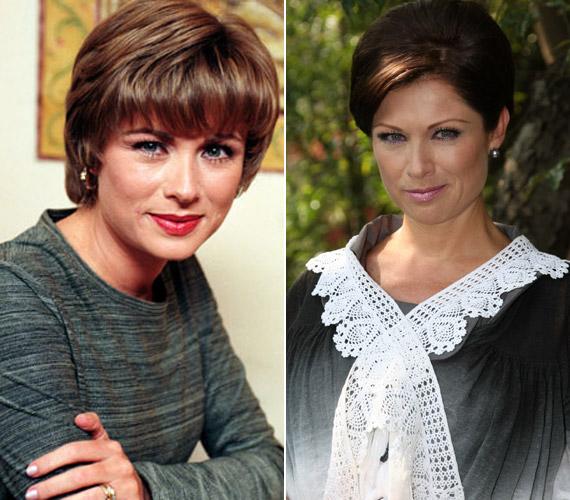 A színésznő szemmel láthatóan szereti a változatosságot: a rövid barna frizura kiemeli zöld szemeit.