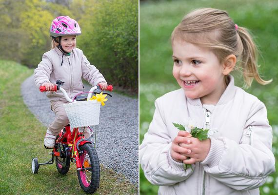Még csak most született, de már ilyen vagányan tekeri a kerekeket! Estelle imád a kastély kertjében játszani, biciklizik, virágokat szed, szaladgál a család kutyusával.