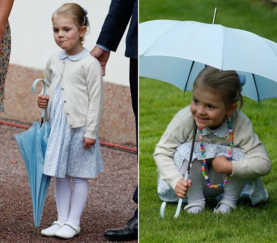 Estelle hercegnő csak pillanatokig tudott nyugton maradni, kész csoda, hogy a bal oldali fotó elkészülhetett róla. A jobb oldalon az látszik, amint megpróbál elbújni a kíváncsi tekintetek elől.