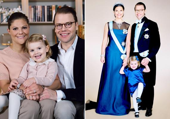 A bejelentés napján készült kép a hercegi párról, illetve a ma közzétett hivatalos portré. A kis Esztella mindkét fotón édesanyja tökéletes mása.