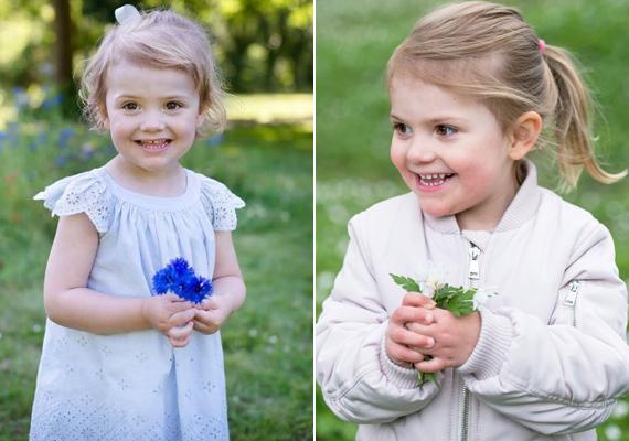 Esztella imád a kastélykertben játszadozni és virágokat szedni. Legtöbbször édesanyjának készít picike csokrokat.