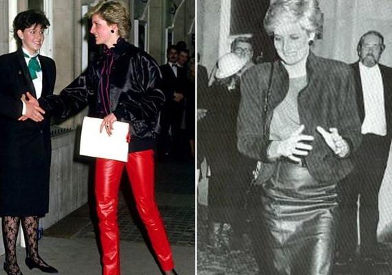 Diana hercegnő híres volt egyedi stílusáról, még az udvar nyomására sem volt hajlandó megváltozni. Előszeretettel viselt bőrholmikat, például ezt a tűzpiros bőrnadrágot vagy egyik kedvenc fekete bőrszoknyáját.