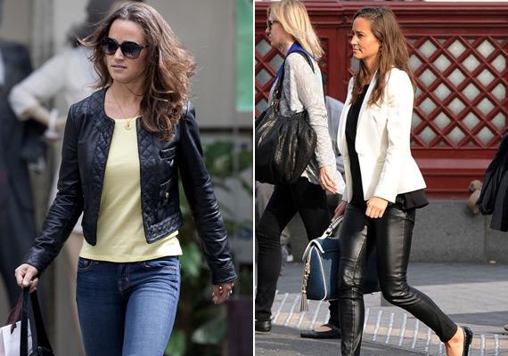 Pippa Middleton szinte mindennap visel valamilyen bőrkiegészítőt, ha máshogy nem, hát táska vagy csizma képében. A hercegné húga sokkal bevállalósabb, bőrnadrágot is szívesen magára húz.
