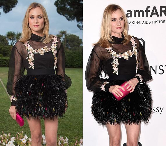 A 38 éves Diane Kruger, akit a legtöbben a Trója című film Helénájaként ismernek, egy tollakkal és masnikkal díszített, fekete miniruhában érkezett a gálára.