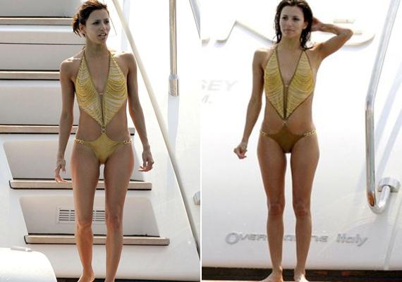 Ez az aranyszínű tankini nem mindenkinek állna jól, de színésznő gyönyörű benne.
