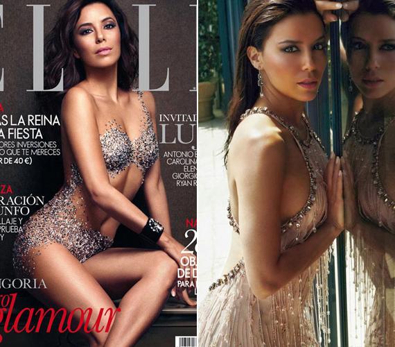 A spanyol Elle magazin decemberi számának címlapján csak pár Swarovski kristály takarja a testét.