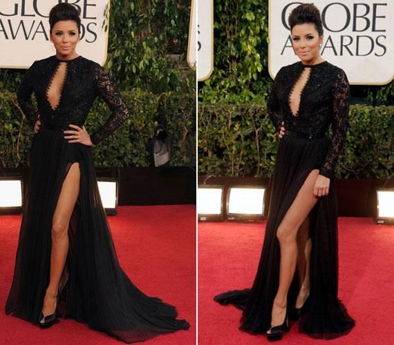 Eva Longoria jól megfigyelte és tökéletesen utánozta Angelina Jolie lábvillantását, mellyel Brad Pitt felesége hozzájárult a 2012-es Oscar-gála emlékezetes pillanataihoz. Még ruhájuk színe is megegyezett, tavaly Jolie is feketében lépett a vörös szőnyegre.