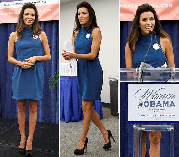 Miamiban a napokban Barack Obama mellett kampányolt ebben a szolid kék ruhában, amelyhez mesés fekete tűsarkút párosított.