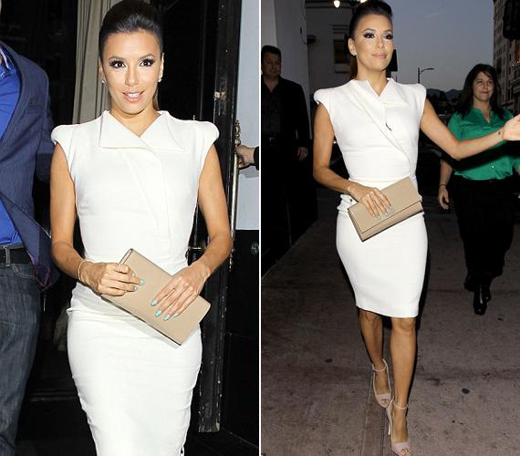 A színésznő egy rövid fehér Victoria Beckham ruhát viselt, mely jól kiemelte tökéletes idomait.
