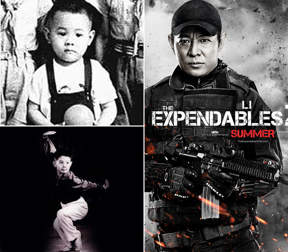 Jet Li már kicsiként is komolyan vette a harcművészetet, a labdás képen egészen szomorú arcot vág - az nem az ő pályája. Az 1963-ban, Pekingben született színész szinte csak verekedős akciófilmben játszott, de feltehetően akad, aki igazán az Expendables kapcsán ismerte meg a nevét. No, meg azt, hogy a többiekhez képest a maga 168 centijével egészen alacsony.