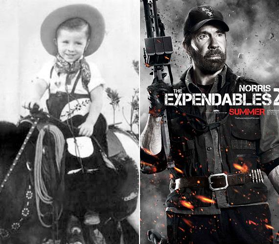 Vétek lett volna kihagyni ezt a fotót Chuck Norrisról - hát nem édes, ahogy büszkén csücsül a lovon? Norris igazi másodvirágzását éli az internetes mémeknek köszönhetően, ahol mint rettenthetetlen és elpusztíthatatlan hős jelenik meg - ám valójában már visszavonult a filmbizniszből, a 2012-es The Expendables 2 előtt 2005-ben forgatott utoljára, és a harmadik részben sem vállalta el a szereplést. Azért az 1940-es születésű sztárra örökre emlékeznek az akciófilm-rajongók, olyan filmeknek köszönhetően, mint A Delta-kommandó, az Ütközetben eltűnt, a Logan bosszúja, no, és a Walker, a texasi kopó sorozat.