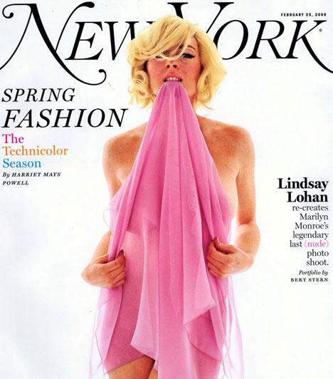 Lindsay Lohan - New York  1962-ben Bert Stern készítette azokat a kultikus fényképeket Marilyn Monroe-ról, amit az utókor The Last Sitting néven őrzött meg emlékezetében. 2008-ban ezt a fotósorozatot idézte meg Bert Stern, ám ezúttal Lindsay Lohan pózolt kamerája előtt, a képek pedig a New York magazin 2008-as Spring Fashion számában jelent meg.