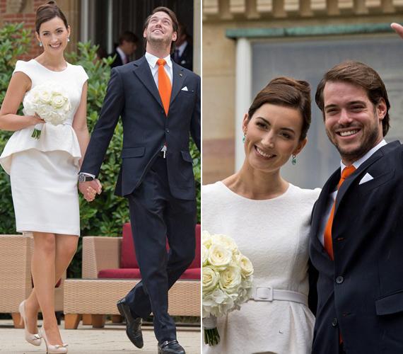 A fehér, peplumos ruha igazán egyszerű volt, ám a polgári szertartásra nem is kell már rögtön a habos-babos menyasszonyi ruha.