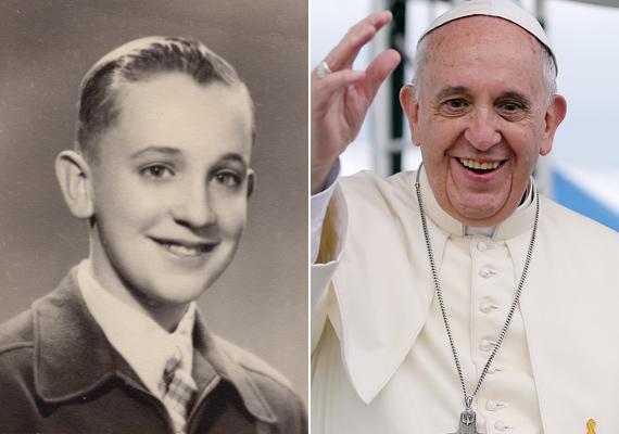 Ferenc pápa az első iskolai tablófotóján és ma, 2015-ben. A csillogó szem és a mosoly semmit sem változott.