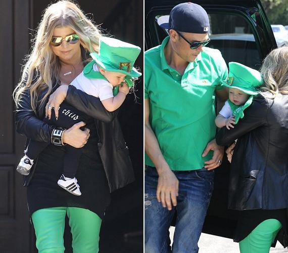 Az egész család zöldbe öltözött, még Fergie férje, Josh Duhamel is.