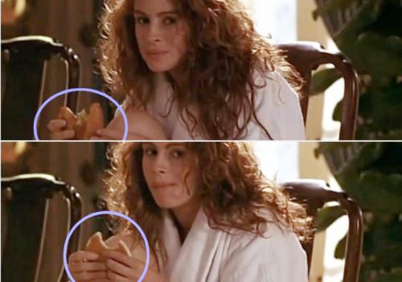 Julia Roberts olyan éhes volt a Micsoda nő!-ben, hogy az egyik pillanatban még croissant-t majszolt, a másikban már egy palacsintát falatozott.