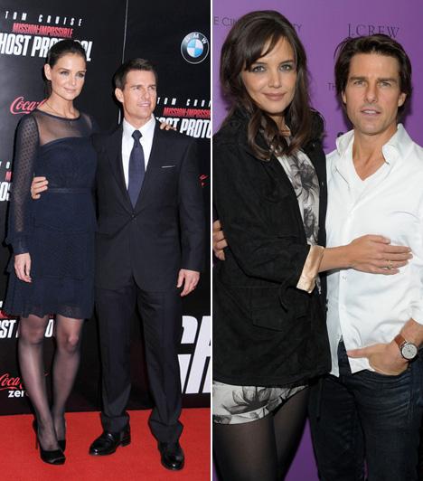 Katie Holmes és Tom Cruise  Katie Holmes mindössze öt centivel magasabb volt férjénél, a 170 centiméteres Tom Cruise-nál, a róluk készült fotók mégis azt sugallják, mintha a különbség jóval több lenne.  Kapcsolódó cikk: Megint mellényúlt! Katie Holmes ritka csúnya ruhában ment vacsorázni »