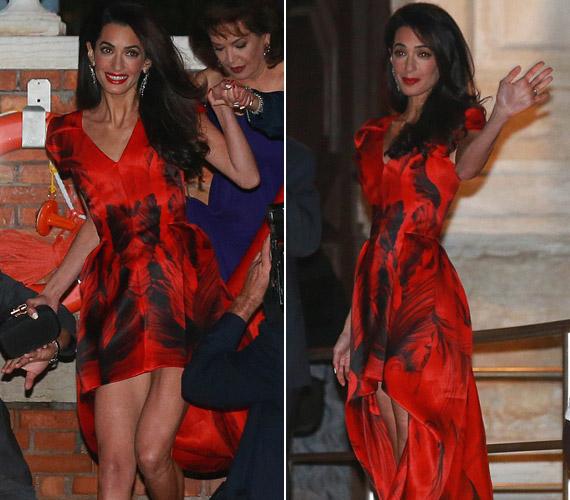 Pénteken este a menyasszony még vörös ruhában vacsorázott.