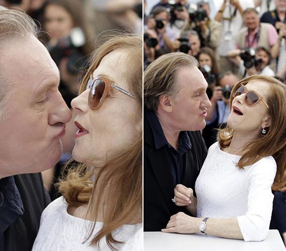 Gerard Depardieu-nek majdnem sikerült csókot lopnia Isabelle Hupperttől, ám a színésznő gyorsabb volt, még időben elhúzta a fejét.