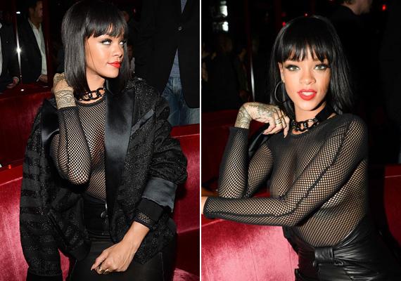 Rihanna 2014-ben, a Balmain divatshow afterpartiján viselte ezt a hálószerű felsőt, ami semmit nem bízott a fantáziára.