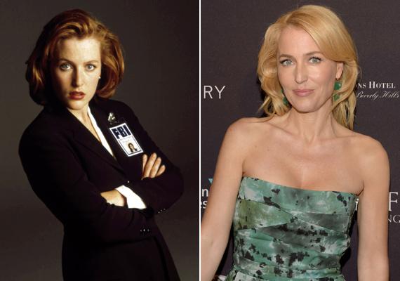 Csak a hajszín változott! Gillian Anderson szinte semmit nem öregedett az első részek forgatása óta, arca még mindig ránctalan.