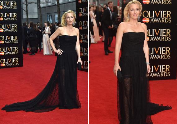 2015 áprilisában az Olivier Awardson is megvillantotta karcsú alakját ebben fekete, hosszú uszályos estélyi ruhában.
