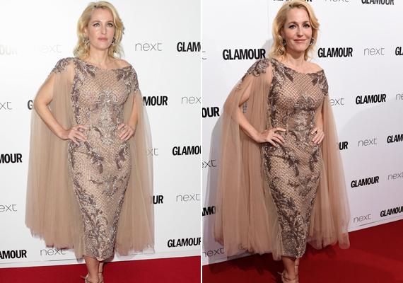 A 2015-ös Glamour-gálán igazi bombázó volt Gillian Anderson ebben az áttetsző, hálós anyagból készült estélyiben.