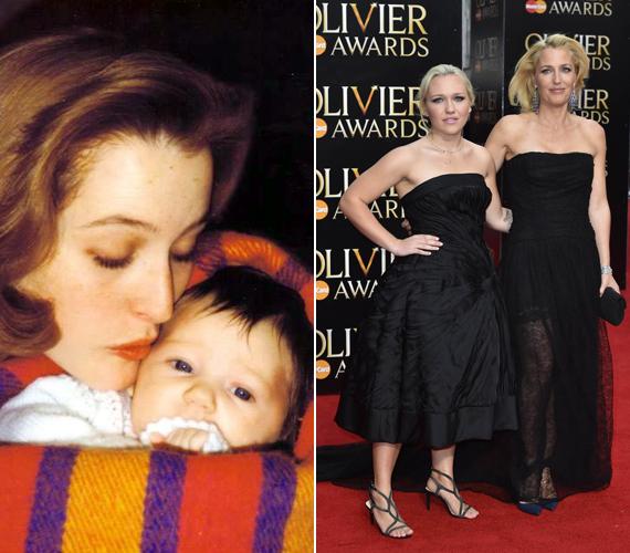 Gillian Anderson nagyon odaadó édesanya hírében áll, amit a bal oldalon látható régi fotó is bizonyít. Lányával most is szoros a kapcsolata.