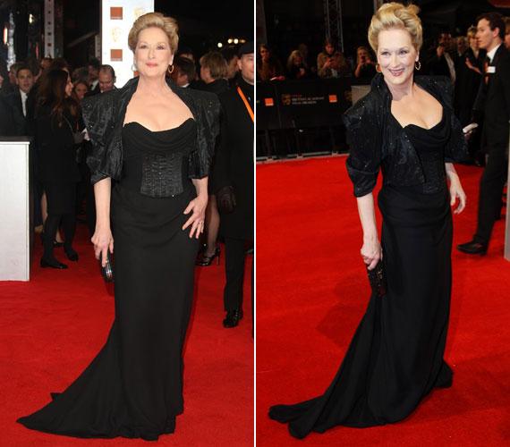 A BAFTA-díjjal jutalmazott színésznő, Meryl Streep volt a vörös szőnyeg nagyasszonya. A fekete Vivienne Westwood estélyihez nemcsak tartás, hanem vagányság is kellett 62 évesen.