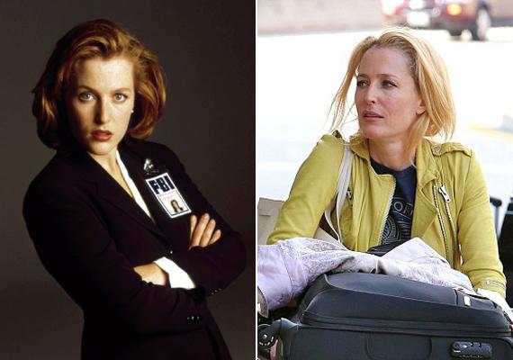 Gillian Anderson a sorozatban és legfrissebb lesifotóján. A színésznő klasszikus vörös frizuráját már régen szőkére cserélte, az új X-akták részekben pedig parókát kell hordania, annyira nem bírja már a haja a festegetést.