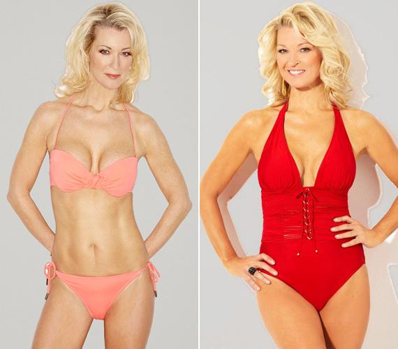 A baloldali kép most készült, a piros fürdőruhás tavaly. A színésznő egy év alatt sokat fogyott.