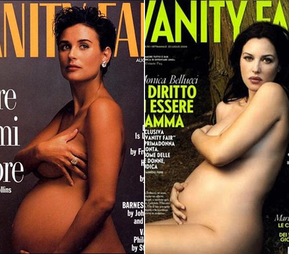Demi Moore volt az első, aki hét hónapos terhesen és meztelenül mutatta meg magát a címlapon, 1991-ben. Példáját később sokan követték, mint Monica Bellucci, aki mindkét terhességénél megtette - a képen a 2010-es fotó látható, ekkor, 45 évesen második gyermekét várta.