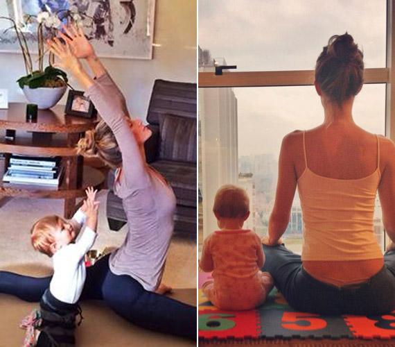 A modell kislányát már egészen kiskorában bevonta kedvenc hobbijába, a jógába, a pici lelkesen utánozza.