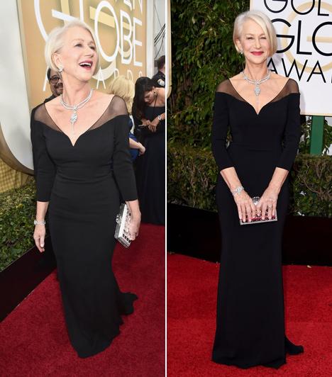 Helen Mirren  A 70 éves színésznő még mindig igazán dögös! Ez a mélyen kivágott fekete ruha az átlátszó betéttel csillagos ötös választás.