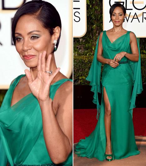 Jada Pinkett Smith  Will Smith felesége most sem hazudtolta meg önmagát. Versace ruhája oldalt és hátul is teljesen fel volt sliccelve, így sokat mutatott a színésznőből a gyönyörű zöld estélyi.