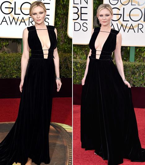 Kirsten Dunst  Köldökig kivágott, fekete Valentino ruhájában Kirsten Dunst úgy fest, mintha a görög mitológia egyik alvilági istennője lenne. Meglepő, hogy néhány éve még a Jumanji copfos kislányaként emlegettük!