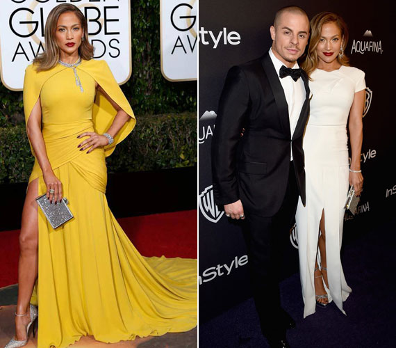 Jennifer Lopez énekesnő gyönyörűen fest ebben az élénksárga színű Giambattista Valli couture darabban. Az afterpartira Casper Smarttal érkezett, egy csodás fehér, földig érő darabban.