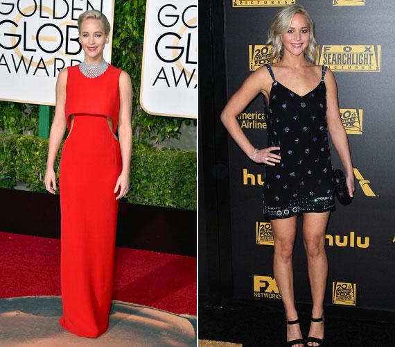 Jennifer Lawrence Diorban lépett a vörös szőnyegre. A tűzpiros ruha remekül állt neki, nem csoda, hogy őt választották meg az est legszebbjének. Az afterpartira is választhatott volna valami figyelemfelkeltőbbet.