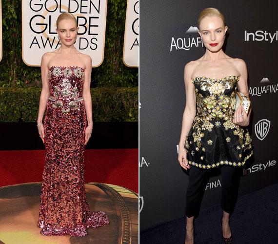 Kate Bosworth a díjátadón egy csillogó, flitteres estélyiben lépett a fotósok elé. A csillogást a második ruhájánál is megtartotta, amelyen az arany és a fekete színek uralkodtak.