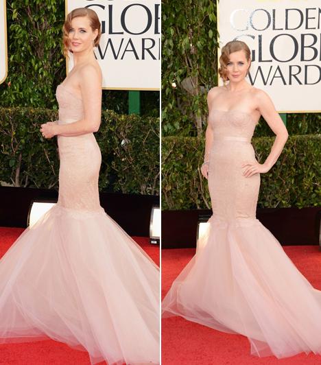 Amy AdamsA színésznő egy testszínű, sellő fazonú ruhát választott a díjkiosztóra, ahol a legjobb mellékszereplőnek járó szobrocskáért versengett. Ám kikapott a Nyomorultak sztárjától, Anne Hathawaytől.