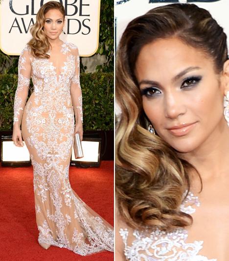 Jennifer Lopez  Lélegzetelállítóan szép volt Jennifer Lopez a Zuhair Murad kreációjában. A testszínű anyagon ezüst hímzés és apró flitterek és strasszkövek láthatók. Távolról úgy tűnik, a díva testét csak ezek az ékkövek takarják.  Kapcsolódó cikk: Jennifer Lopez kendőzetlenül mutatta meg bájait »